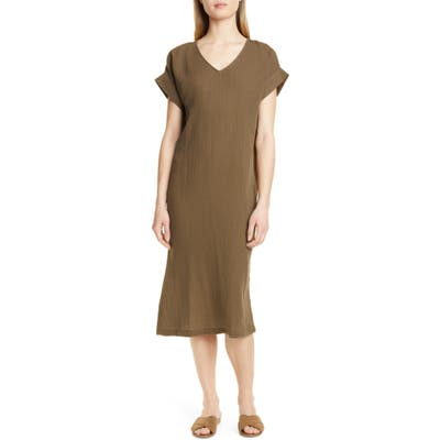 Eileen Fisher Organic Cotton Midi Dress, Brown