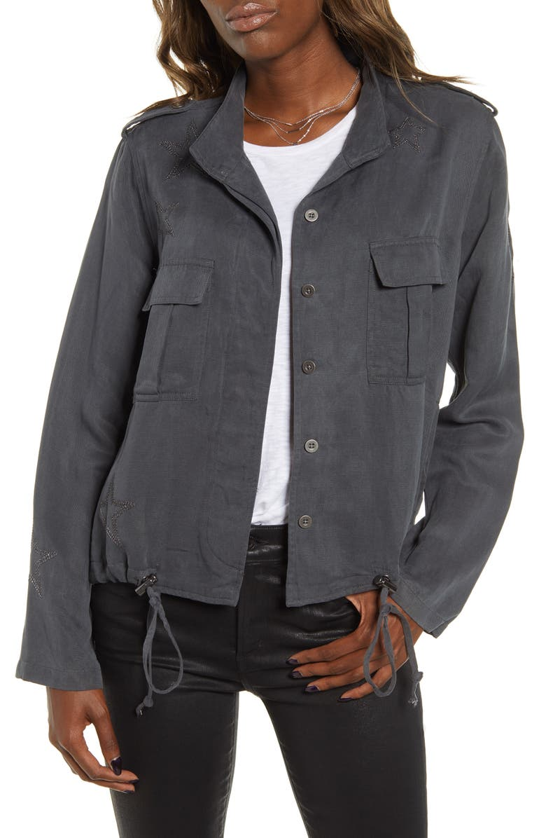 RAILS Rowen Military Jacket, Main, color, DARK GREY WITH STAR EMBROIDERY