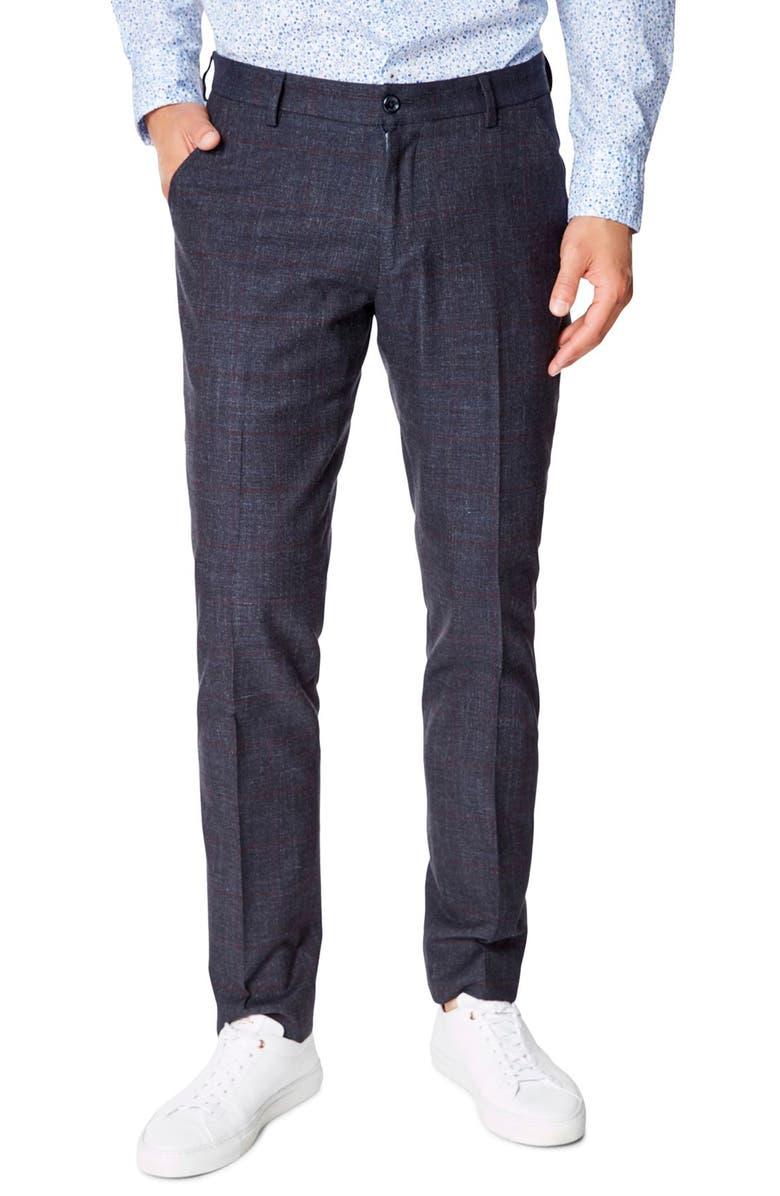 GOOD MAN BRAND Flat Front Plaid Stretch Cotton Dress Pants, Main, color, 414