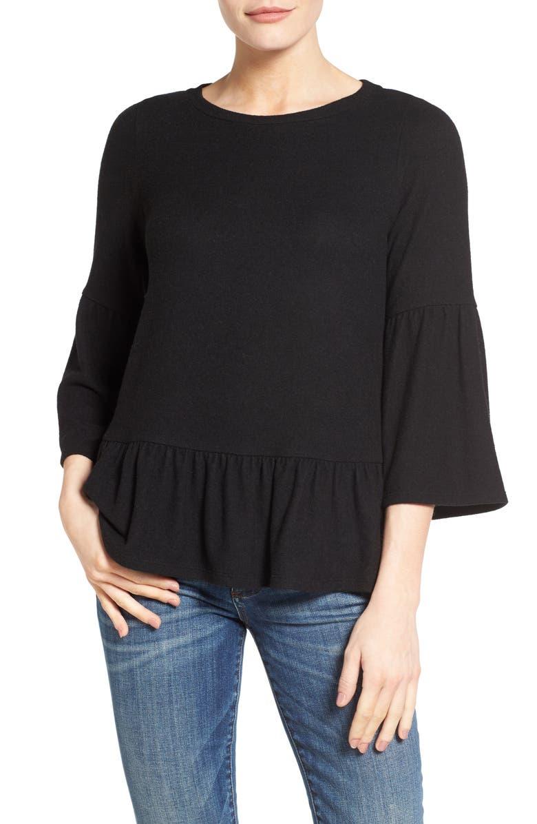 GIBSON Cozy Fleece Peplum Top, Main, color, 001