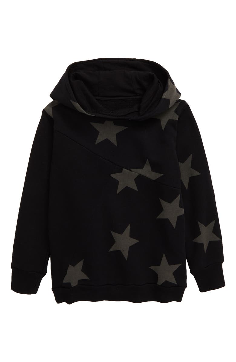 NUNUNU Star Hooded Sweatshirt, Main, color, BLACK