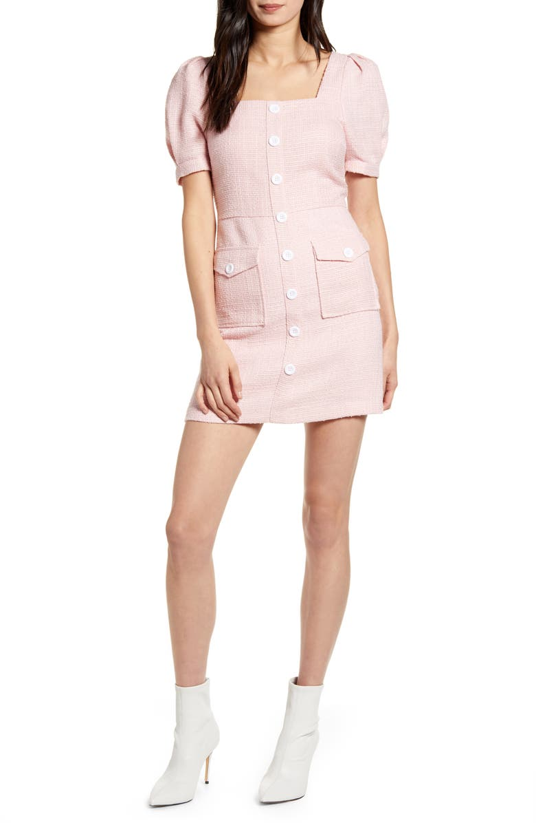 ENDLESS ROSE Puff Sleeve Minidress, Main, color, PINK