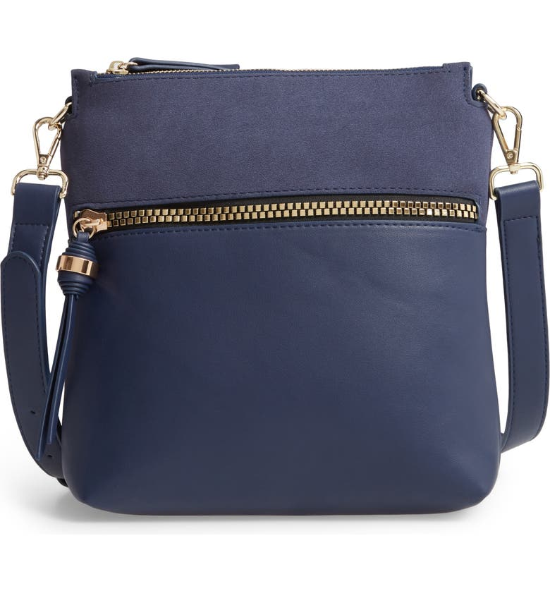 SONDRA ROBERTS Faux Leather Crossbody Bag, Main, color, NAVY