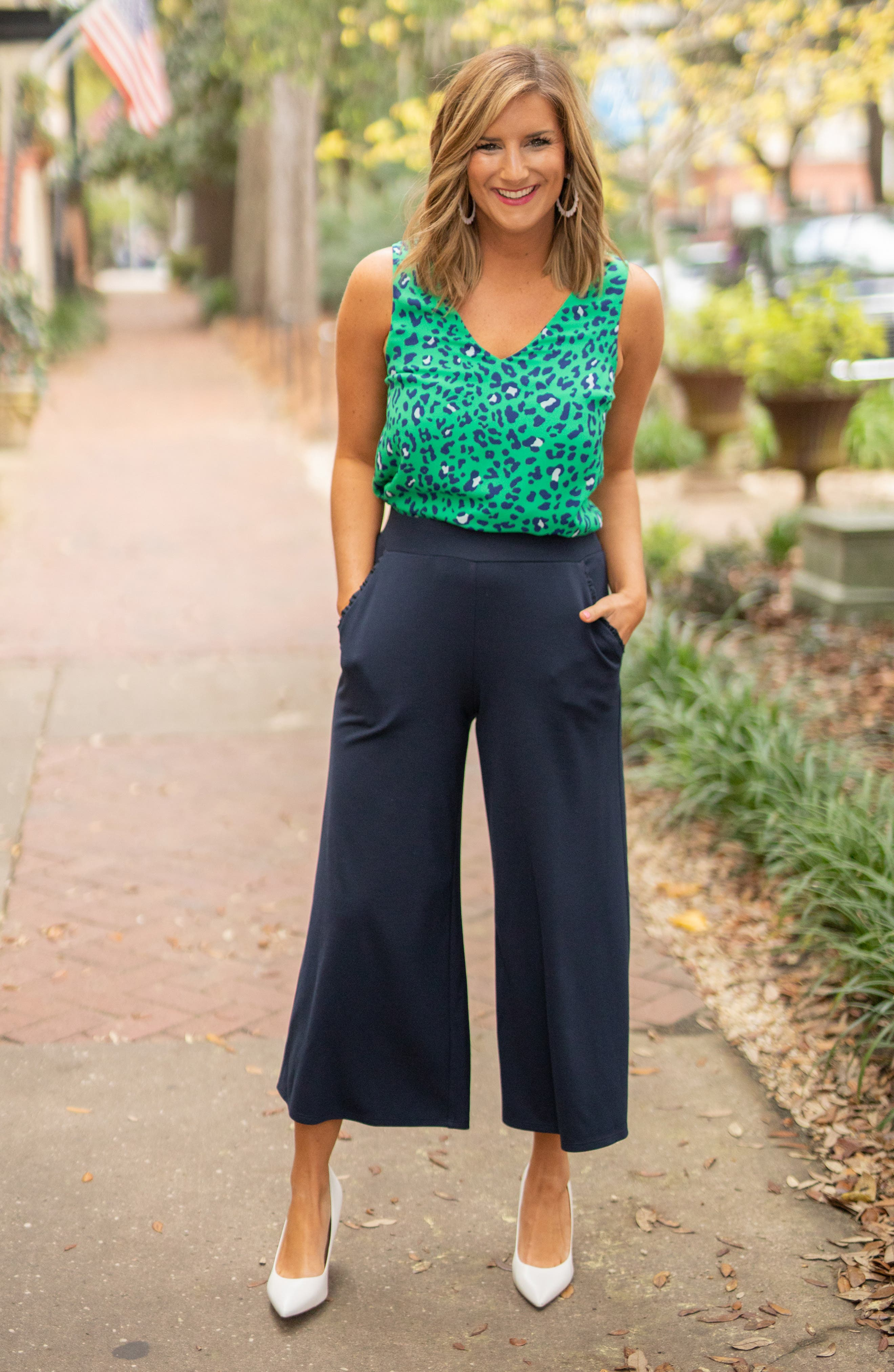 ,                             x Living in Yellow Wide Leg Crop Pants,                             Alternate thumbnail 8, color,                             NAVY