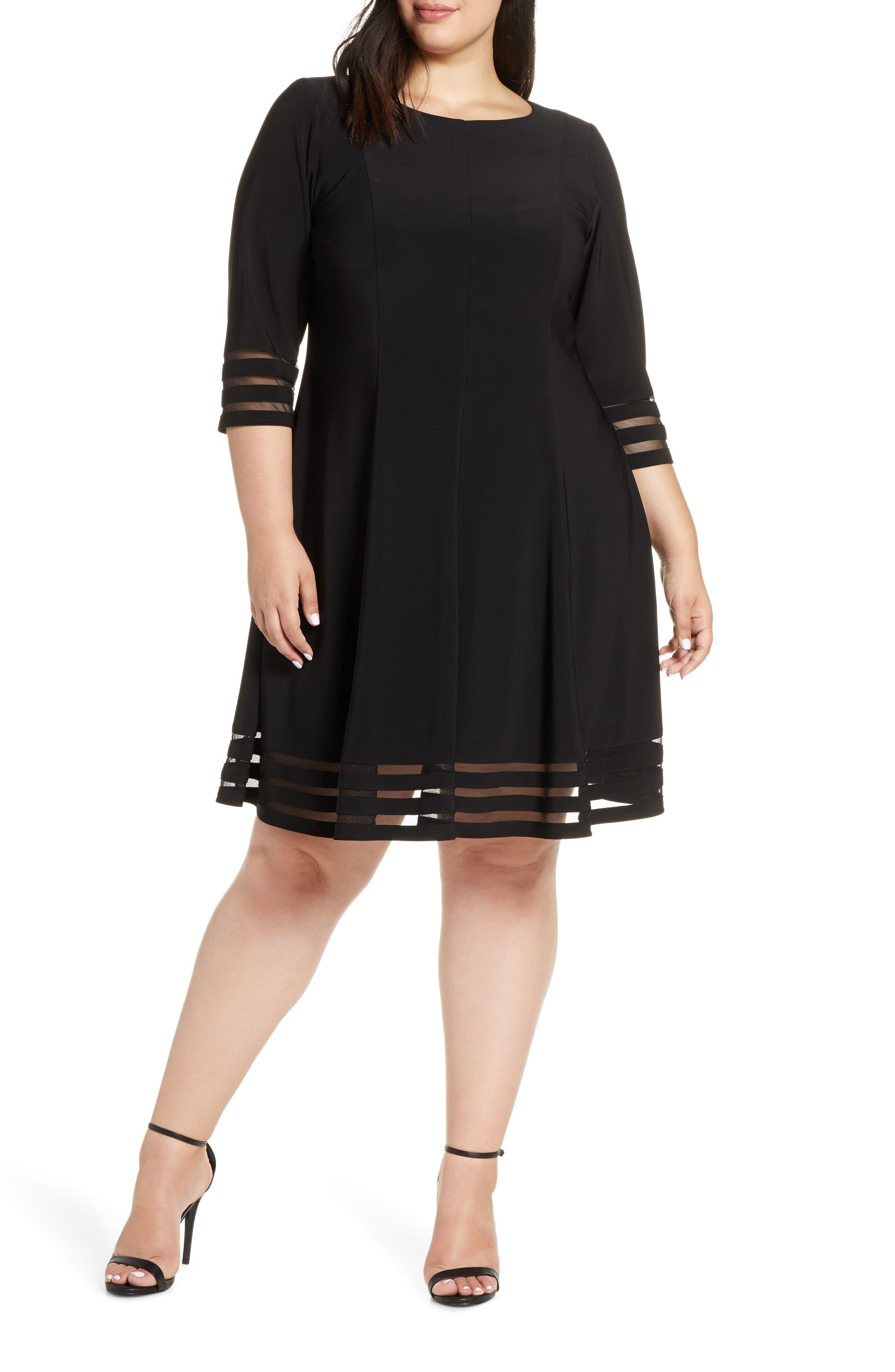 Plus Size Eliza J Mesh Inset Fit & Flare Dress, Black