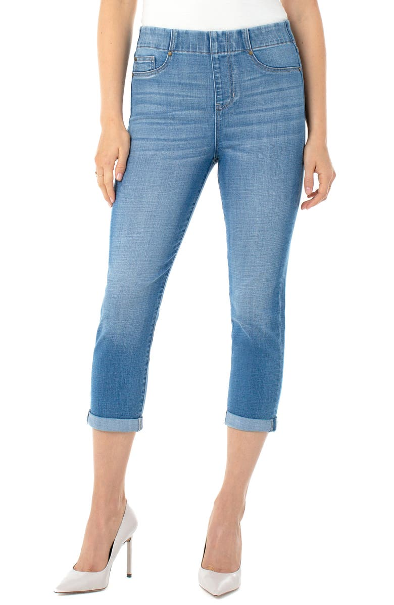 LIVERPOOL Chloe Pull-On High Waist Roll Cuff Crop Skinny Jeans, Main, color, 420