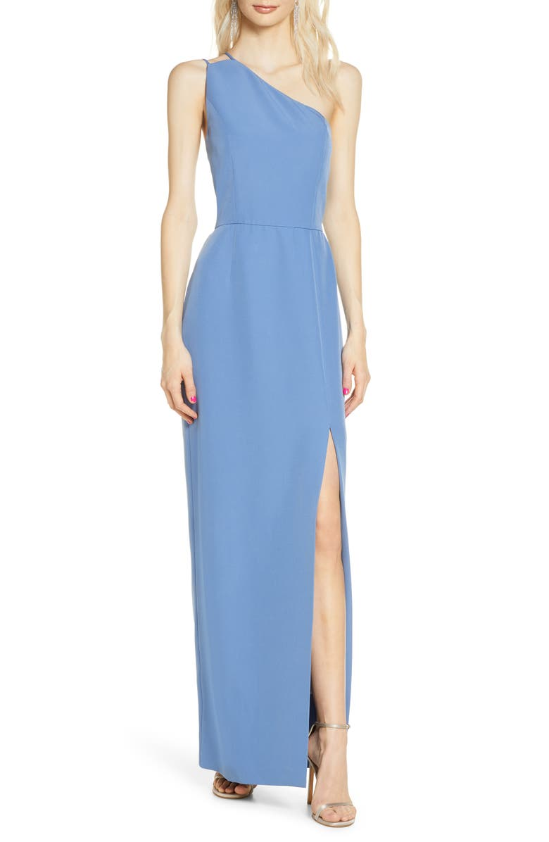 WAYF The Lenore One Shoulder Column Dress, Main, color, EVENING BLUE