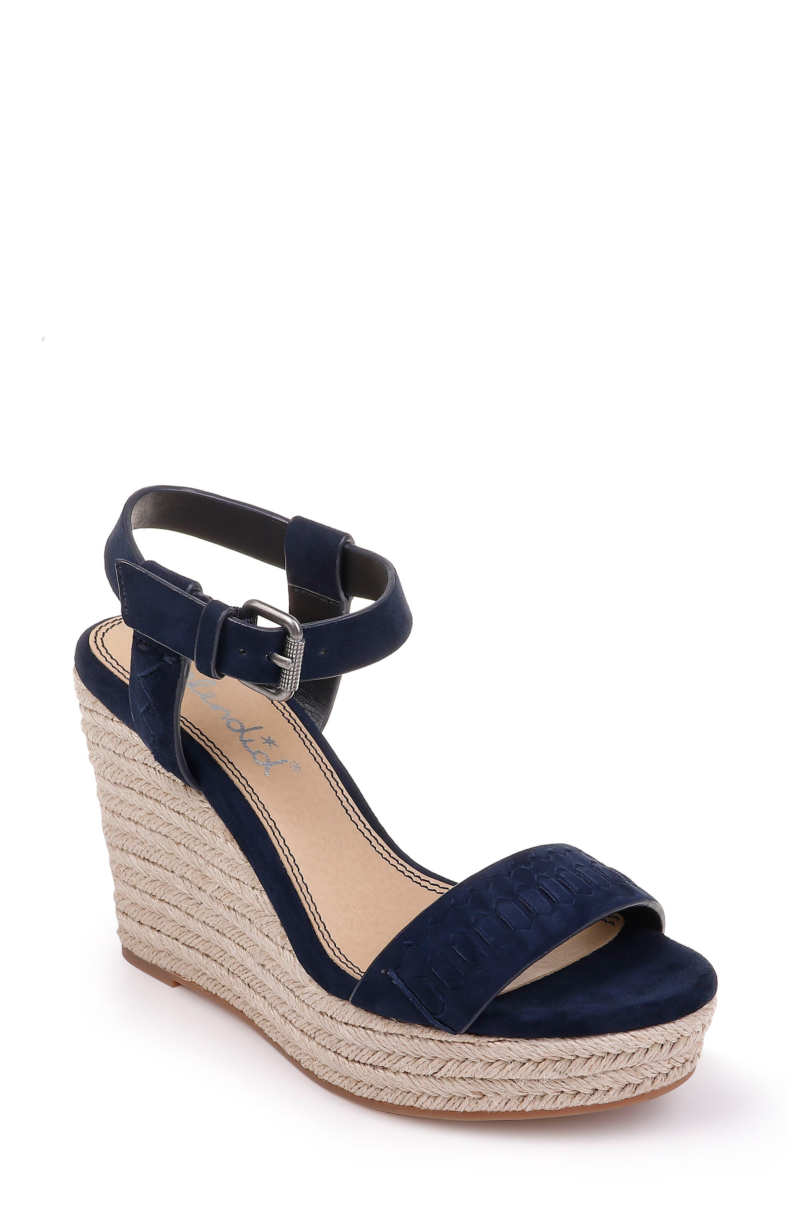 Splendid Shayla Woven Wedge Sandal- Blue