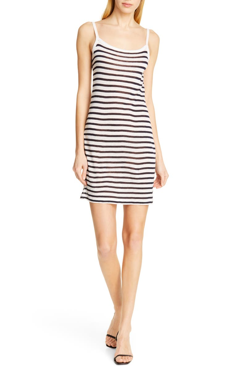 ALEXANDERWANG.T Stripe Slub Jersey Tank Dress, Main, color, INK AND IVORY
