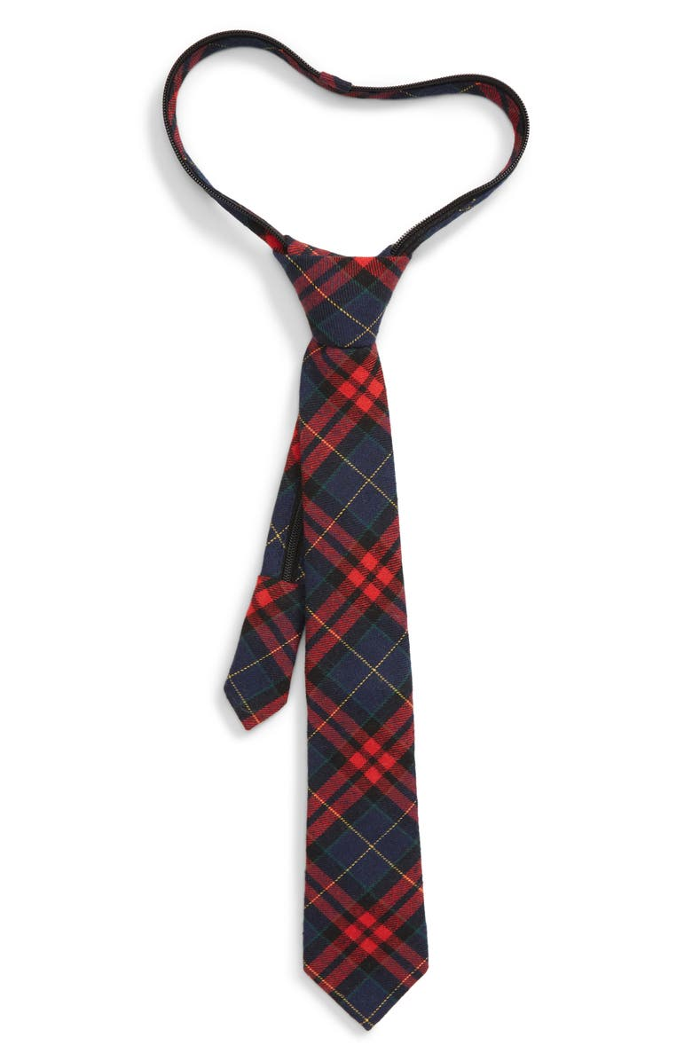 NORDSTROM Felix Plaid Silk Zipper Tie, Main, color, 600