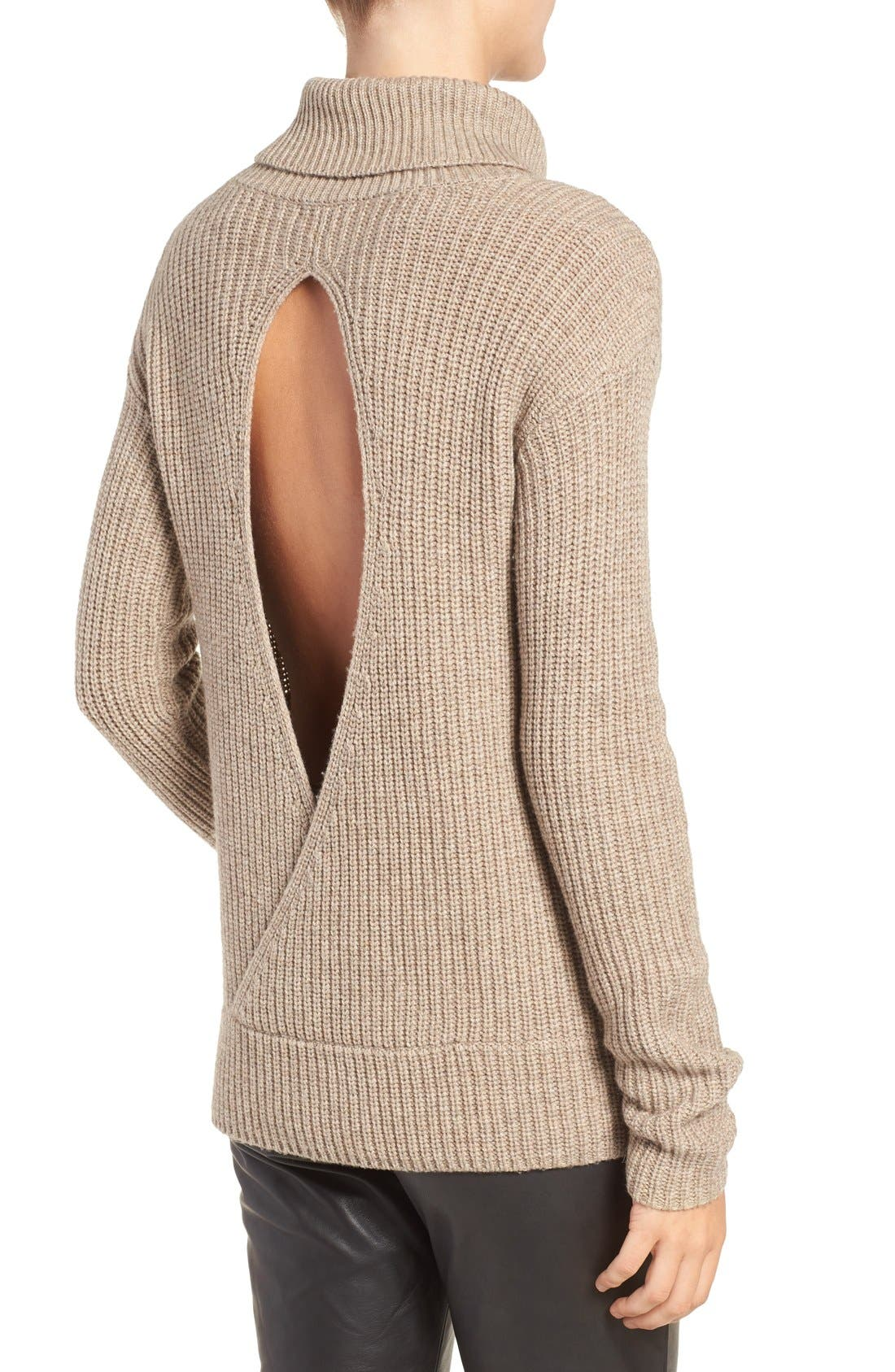 Open Back Wool & Cashmere Turtleneck Sweater, Main, color, 235