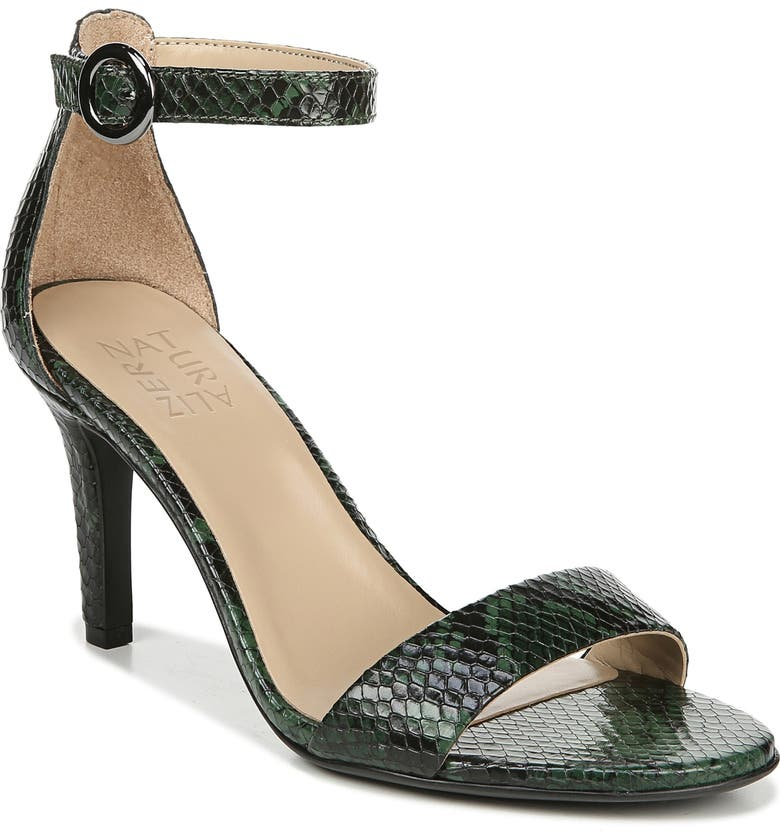NATURALIZER Kinsley Ankle Strap Sandal, Main, color, GREEN SNAKE PRINT LEATHER