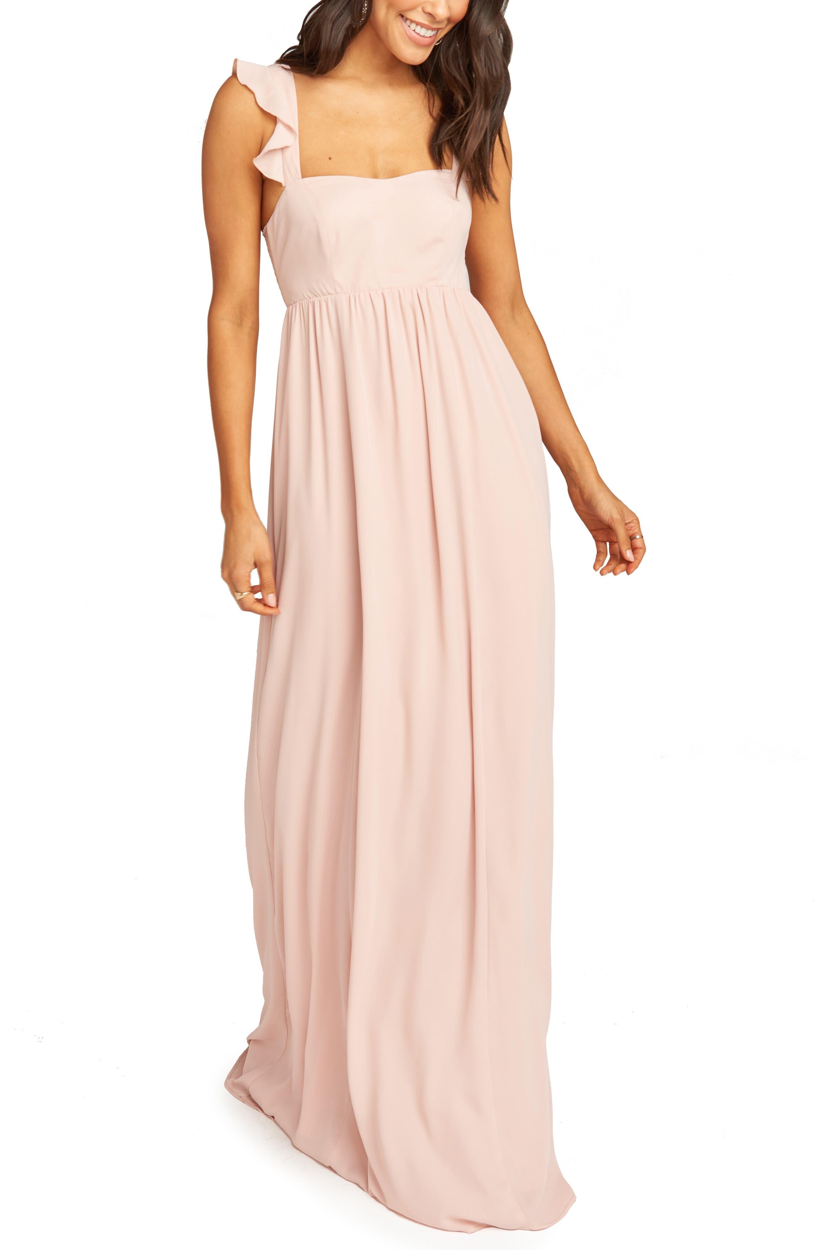 Show Me Your Mumu June Ruffle Strap Evening Dress, Pink
