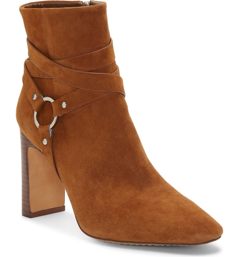 VINCE CAMUTO Sestina Harness Square Toe Bootie, Main, color, VINTAGE/SMOKEY BROWN SUEDE