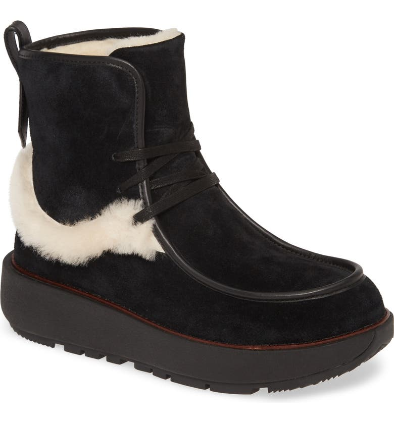 FITFLOP Nyssa Genuine Shearling Chukka Boot, Main, color, ALL BLACK SUEDE