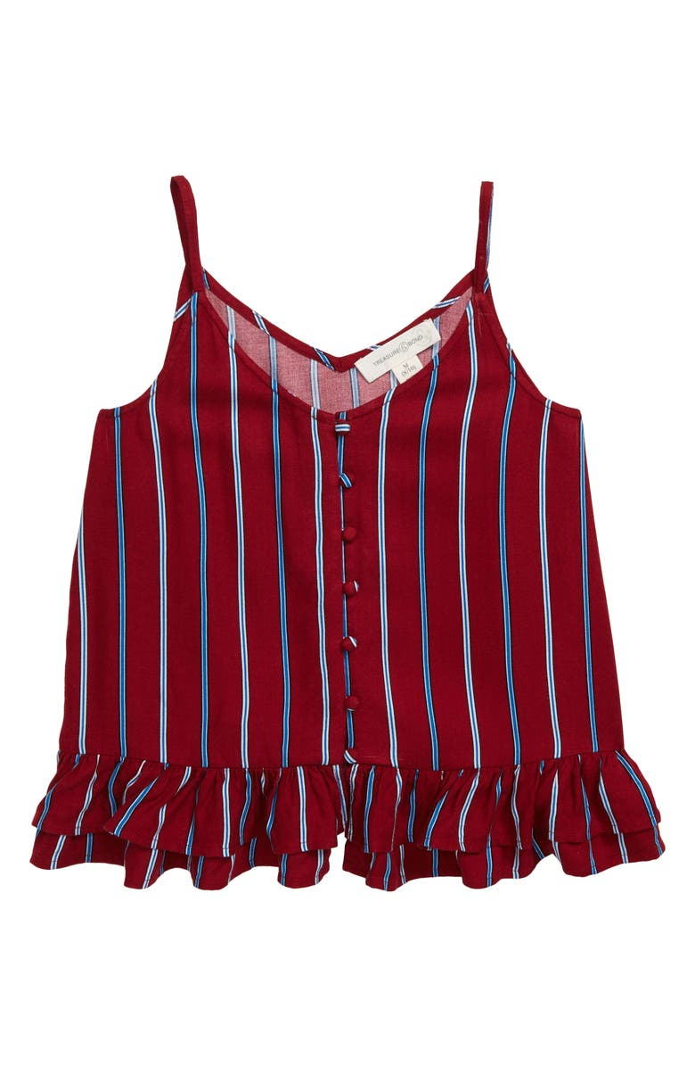 TREASURE & BOND Button Front Camisole, Main, color, RED RHUBARB STRIPE