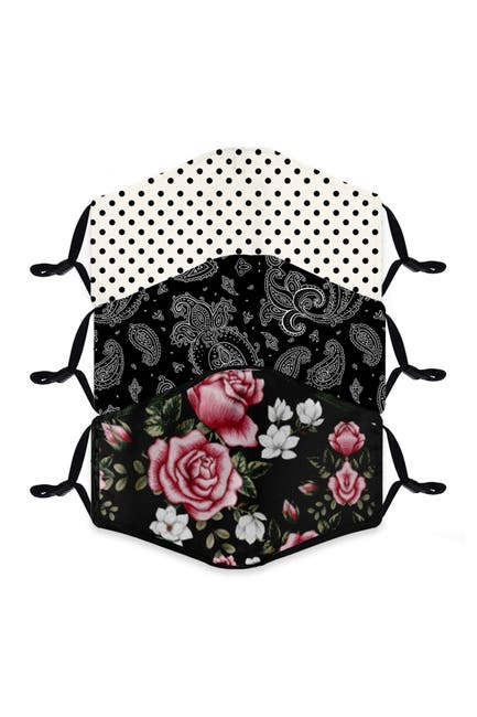 Image of FASHION MASKS Reusable Fashion Adult Face Mask - Pack of 3 - Floral & Polka Dots