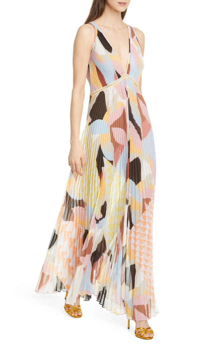 SELF-PORTRAIT Geo Print Pleated Maxi Dress, Main, color, 650