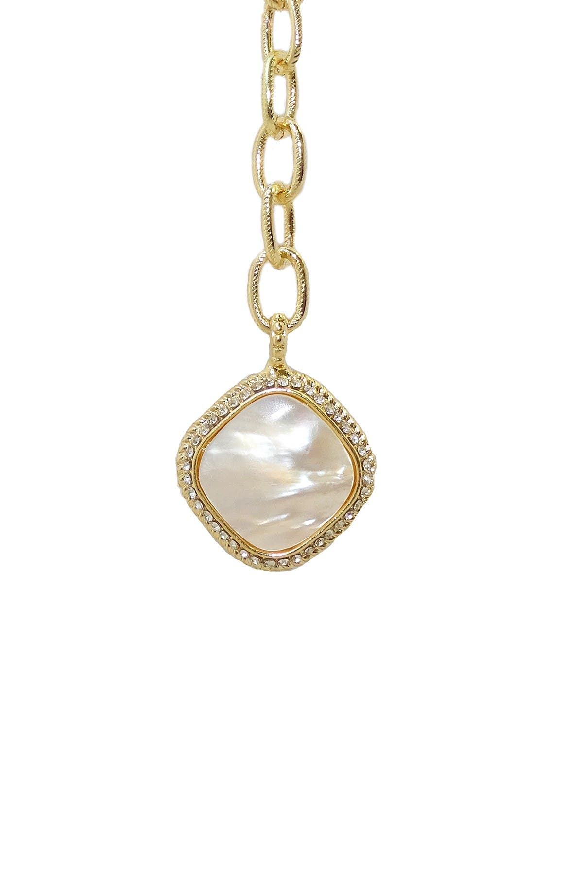 Image of Savvy Cie 18K Yellow Gold Plated Bezel Set Mother of Pearl Pendant Chain Link Necklace