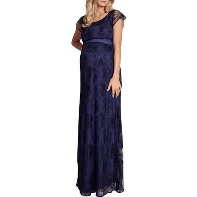 Tiffany Rose April Lace Maternity/nursing Gown, Blue