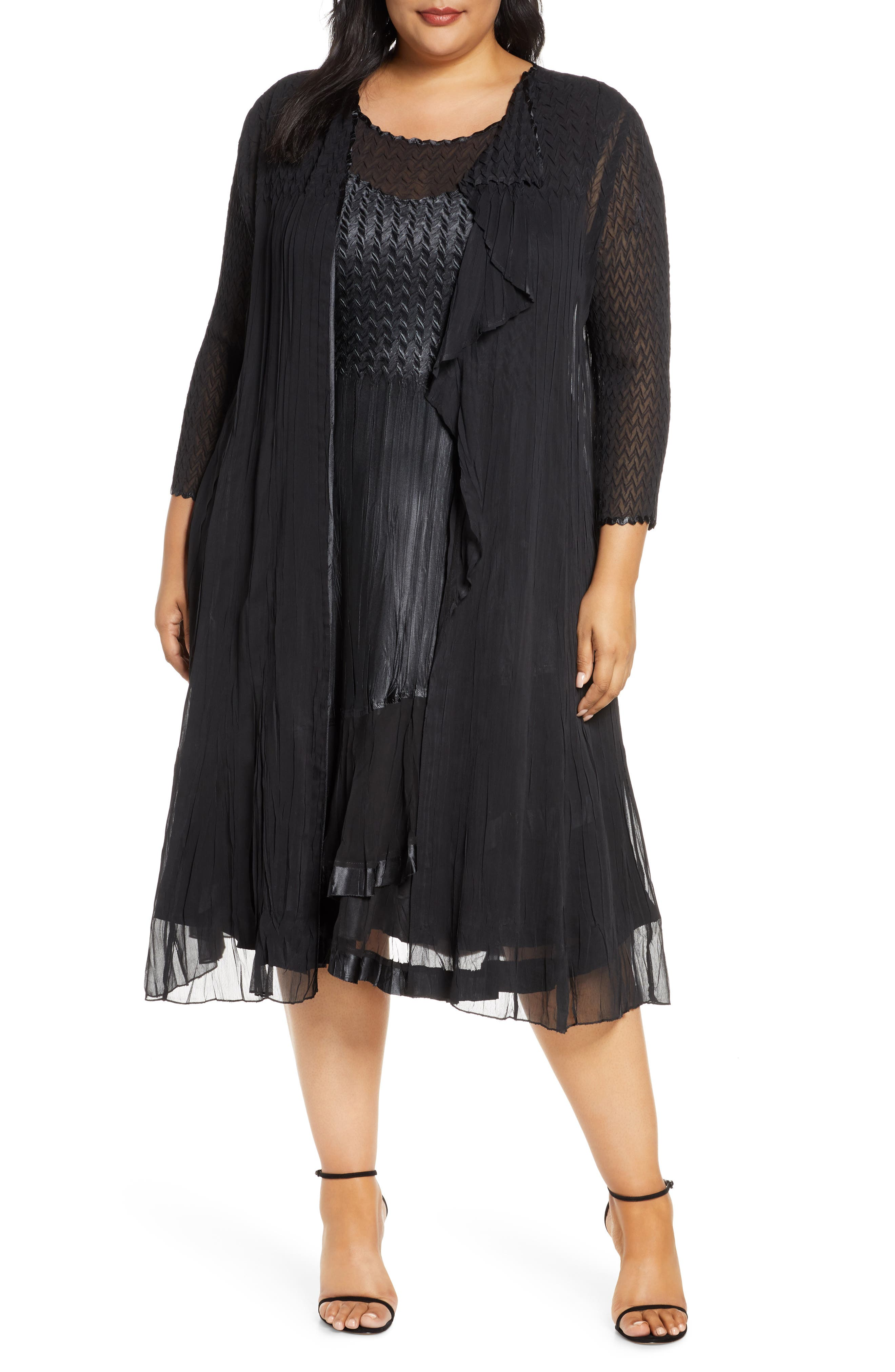 1920s Plus Size Flapper Dresses, Gatsby Dresses, Flapper Costumes Plus Size Womens Komarov Charmeuse Midi Dress With Jacket $460.00 AT vintagedancer.com