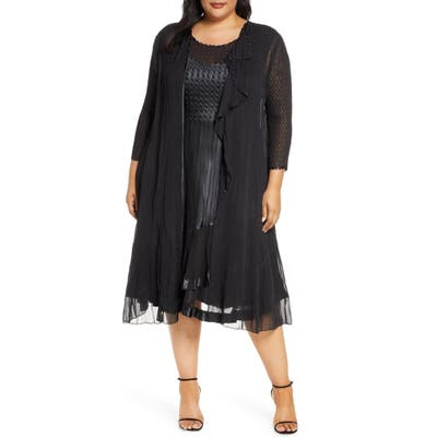 Plus Size Komarov Charmeuse Midi Dress With Jacket, Black