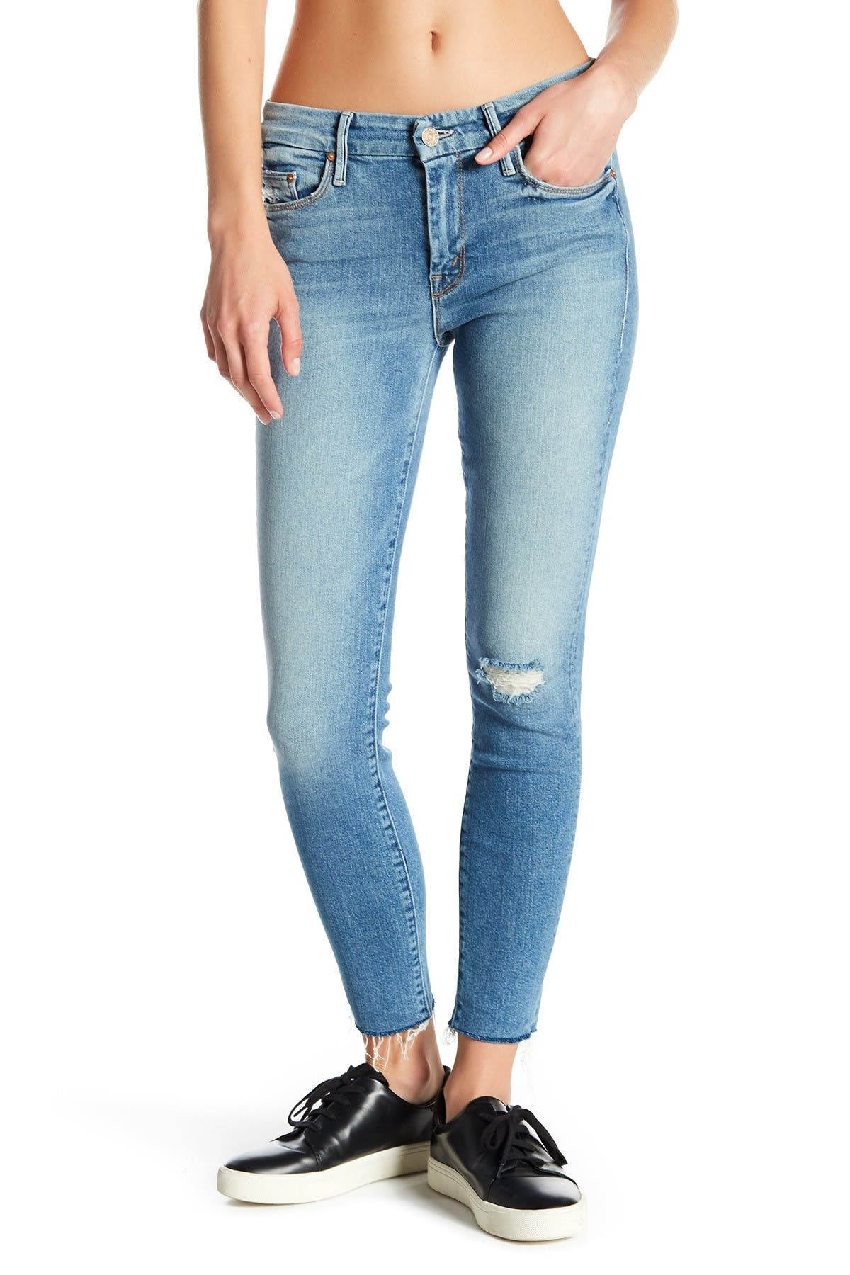 Image of MOTHER The Looker Cropped Raw-Edge Skinny Jeans