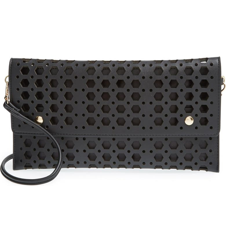 STREET LEVEL Perforated Convertible Clutch, Main, color, 001