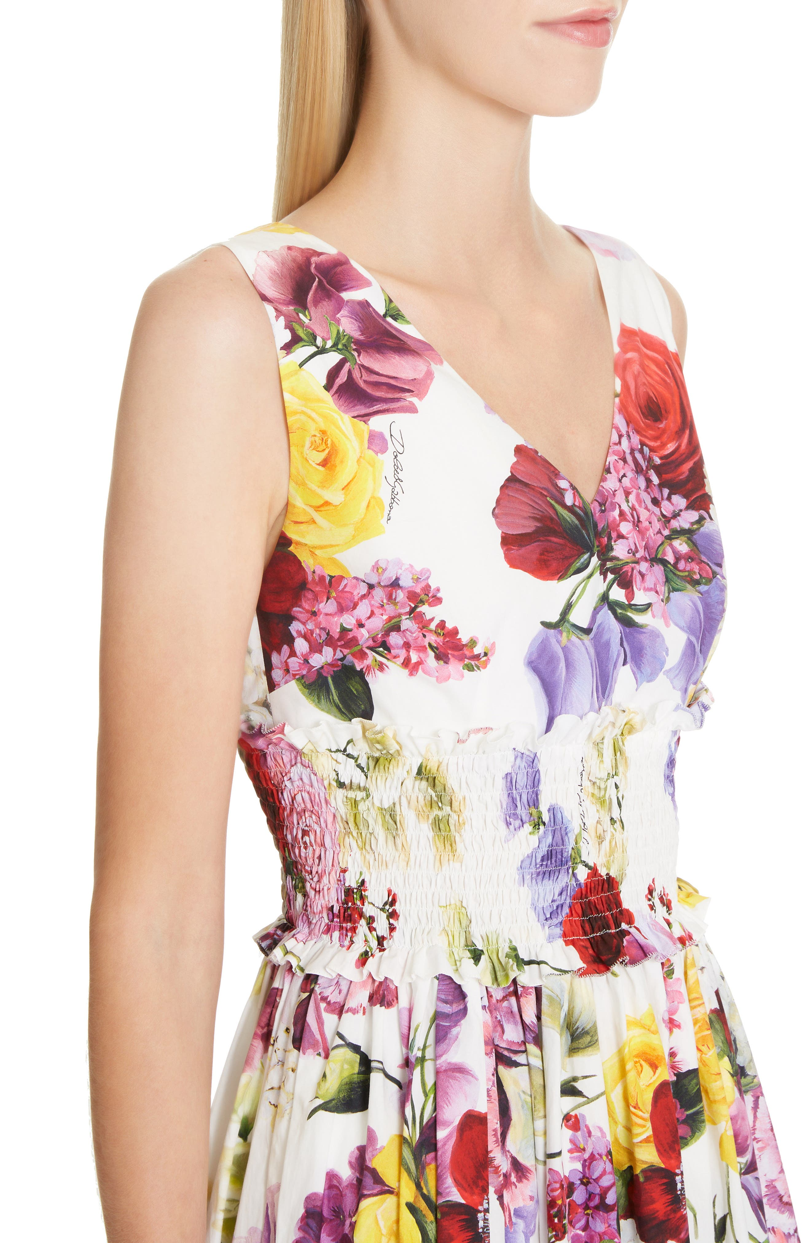 ,                             Floral Print Smock Waist Poplin Dress,                             Alternate thumbnail 4, color,                             PINK FLORAL