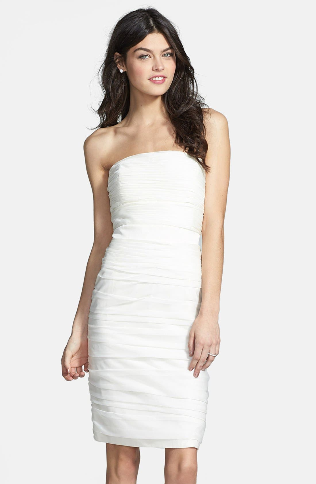 ,                             Ruched Strapless Cationic Chiffon Dress,                             Main thumbnail 81, color,                             900