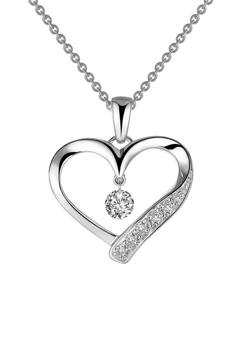 LAFONN Heart Orbital Pendant Necklace, Main, color, SILVER/CLEAR