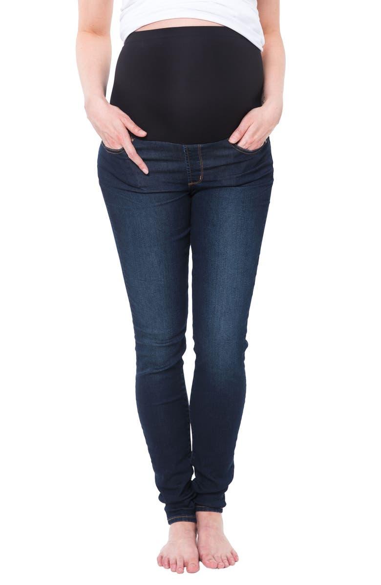 NOM MATERNITY Soho Over the Belly Skinny Maternity Jeans, Main, color, DARK BLUE WASH