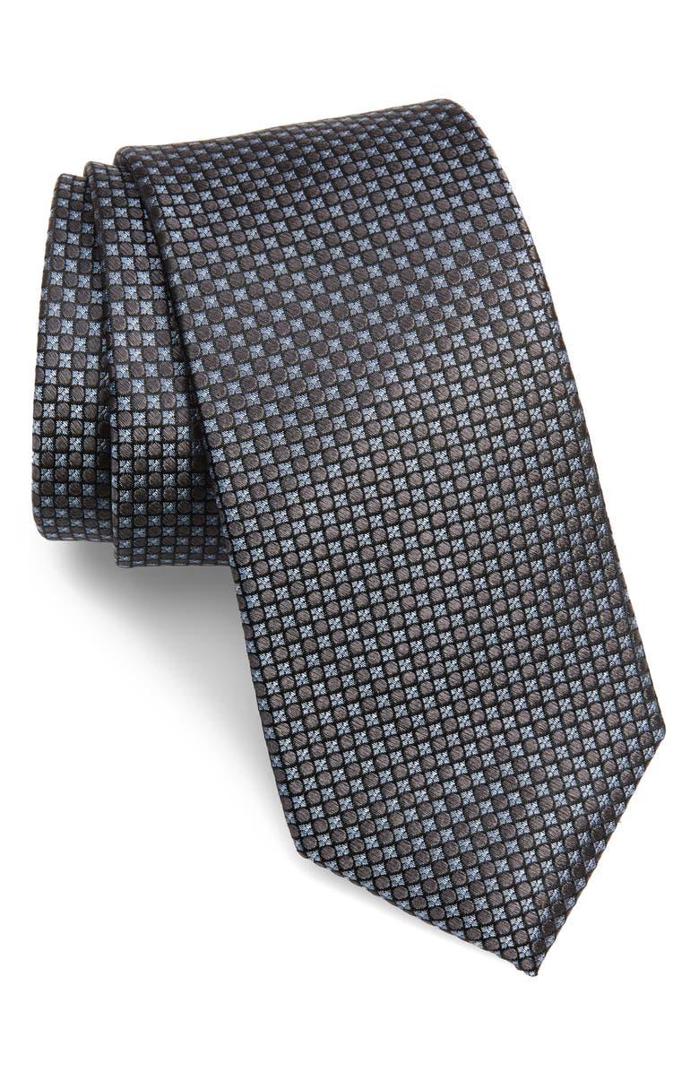 NORDSTROM MEN'S SHOP Selway Grid Silk Tie, Main, color, BLACK