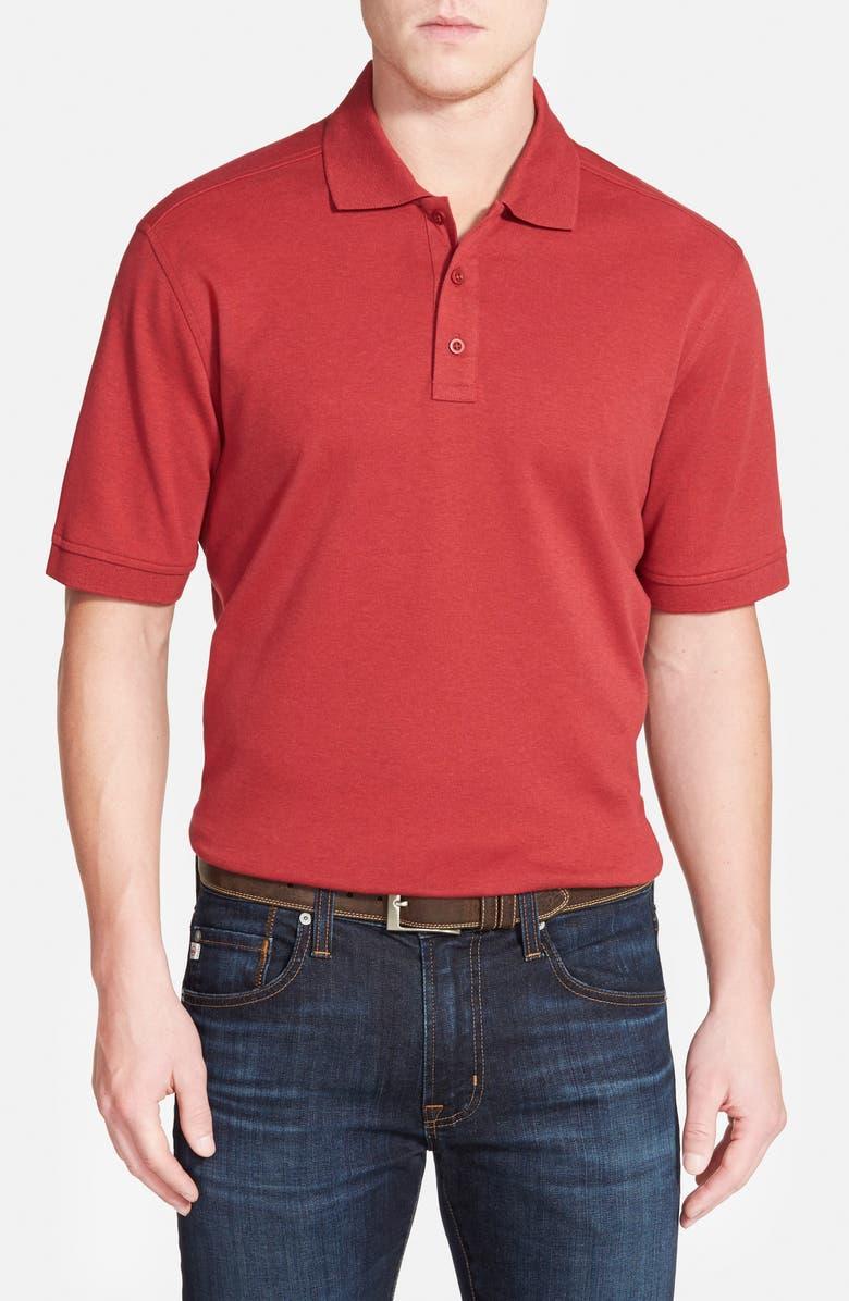 NORDSTROM MEN'S SHOP Regular Fit Interlock Polo, Main, color, RED ROSEWOOD HEATHER