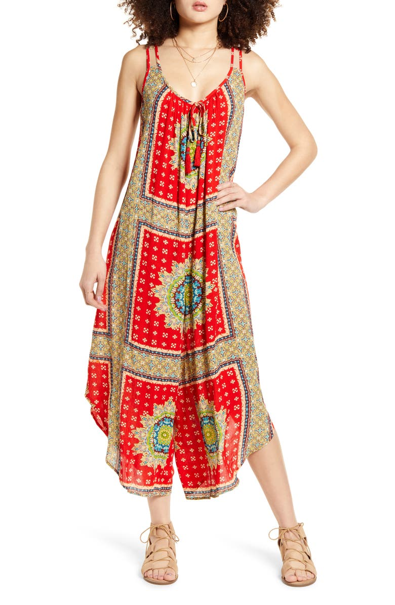 BAND OF GYPSIES Athens Jumpsuit, Main, color, RED/ BEIGE
