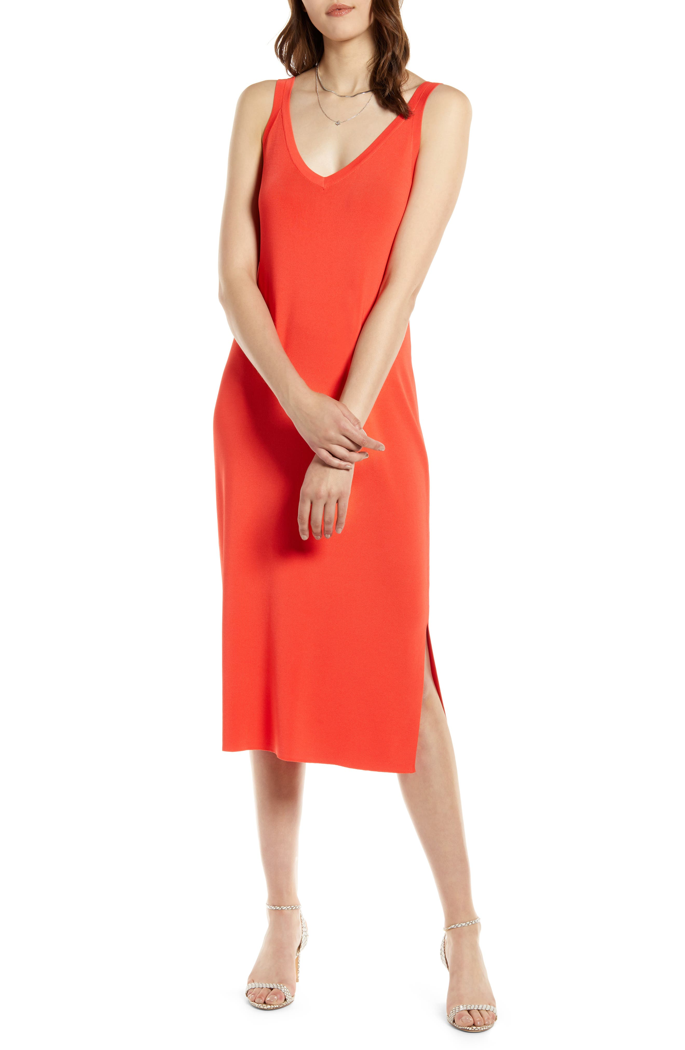 Halogen Ribbed Tank Dress, Red