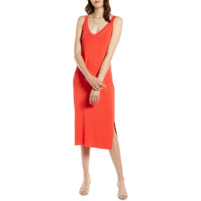 Halogen Ribbed Tank Dress, Red