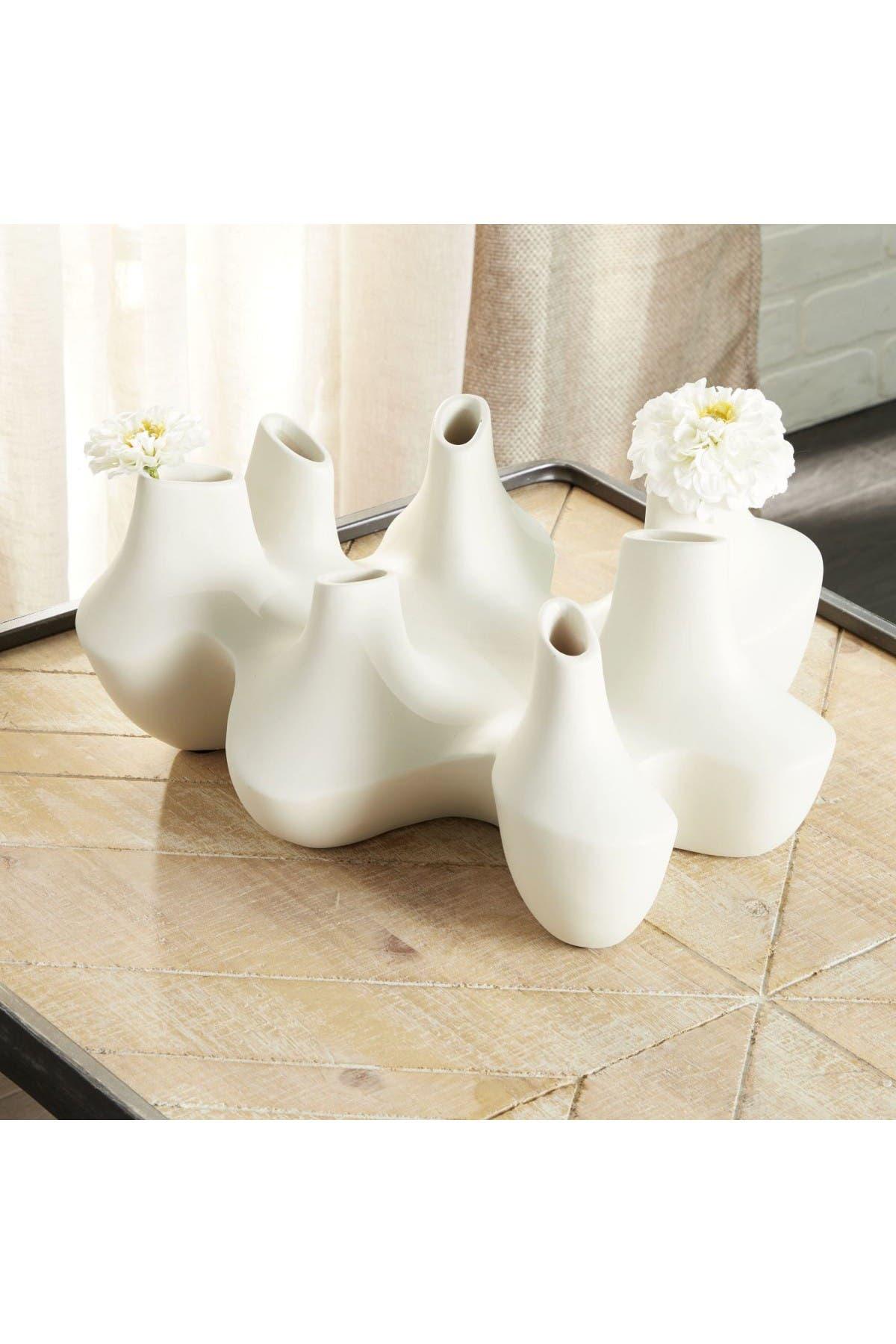 Image of Willow Row Large Modern White Ceramic 7-Vase Cluster