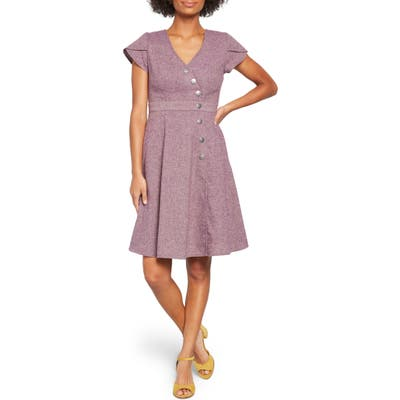 Plus Size Modcloth Sentimental Special Short Sleeve A-Line Dress, Pink