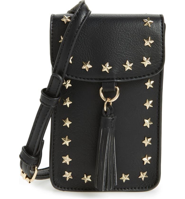 BP. Studded Faux Leather Phone Crossbody Bag, Main, color, 001