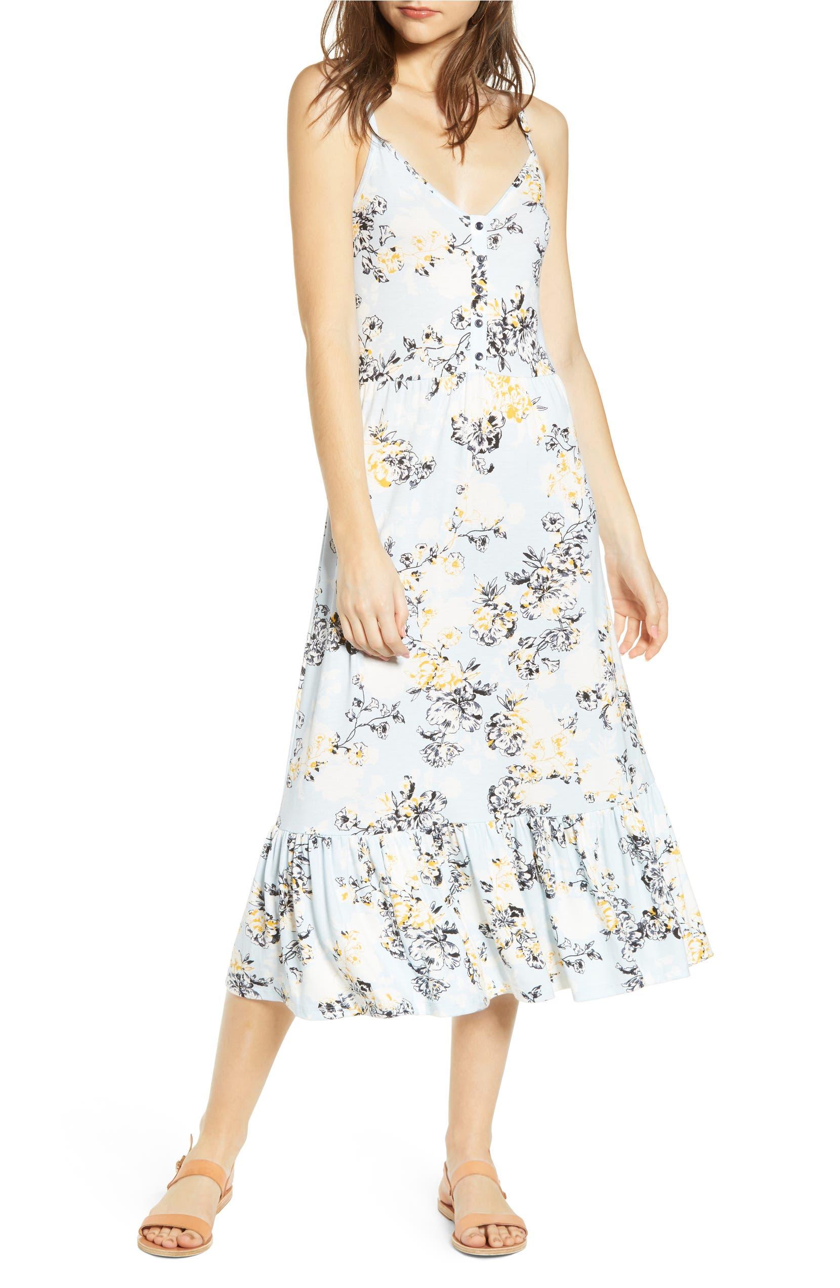 Floral Print Ruffle Hem Sundress, Main, color, BLUE DRIFT DETAIL FLORAL