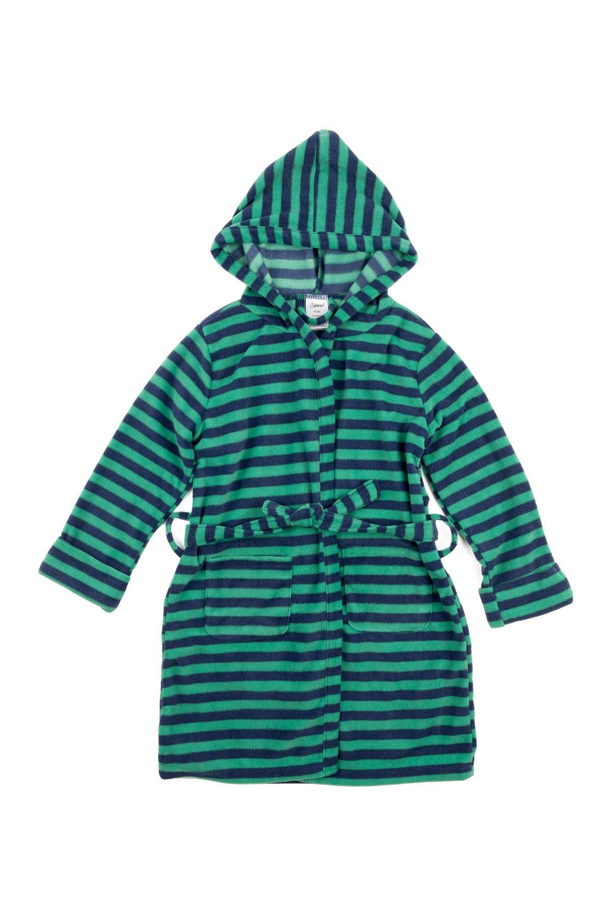 Image of Leveret Blue and Green Stripes Kids Fleece Robe
