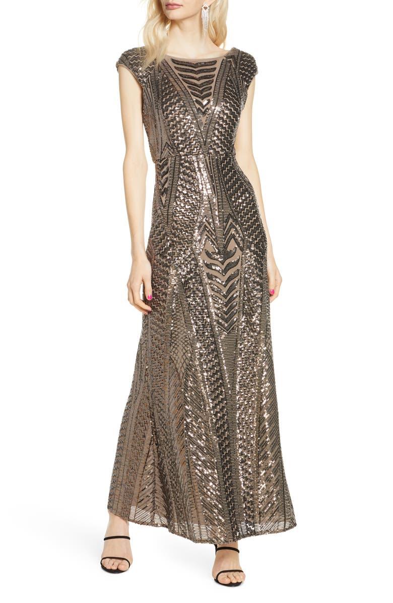 MORGAN & CO. Art Deco Sequin Gown, Main, color, MOCHA