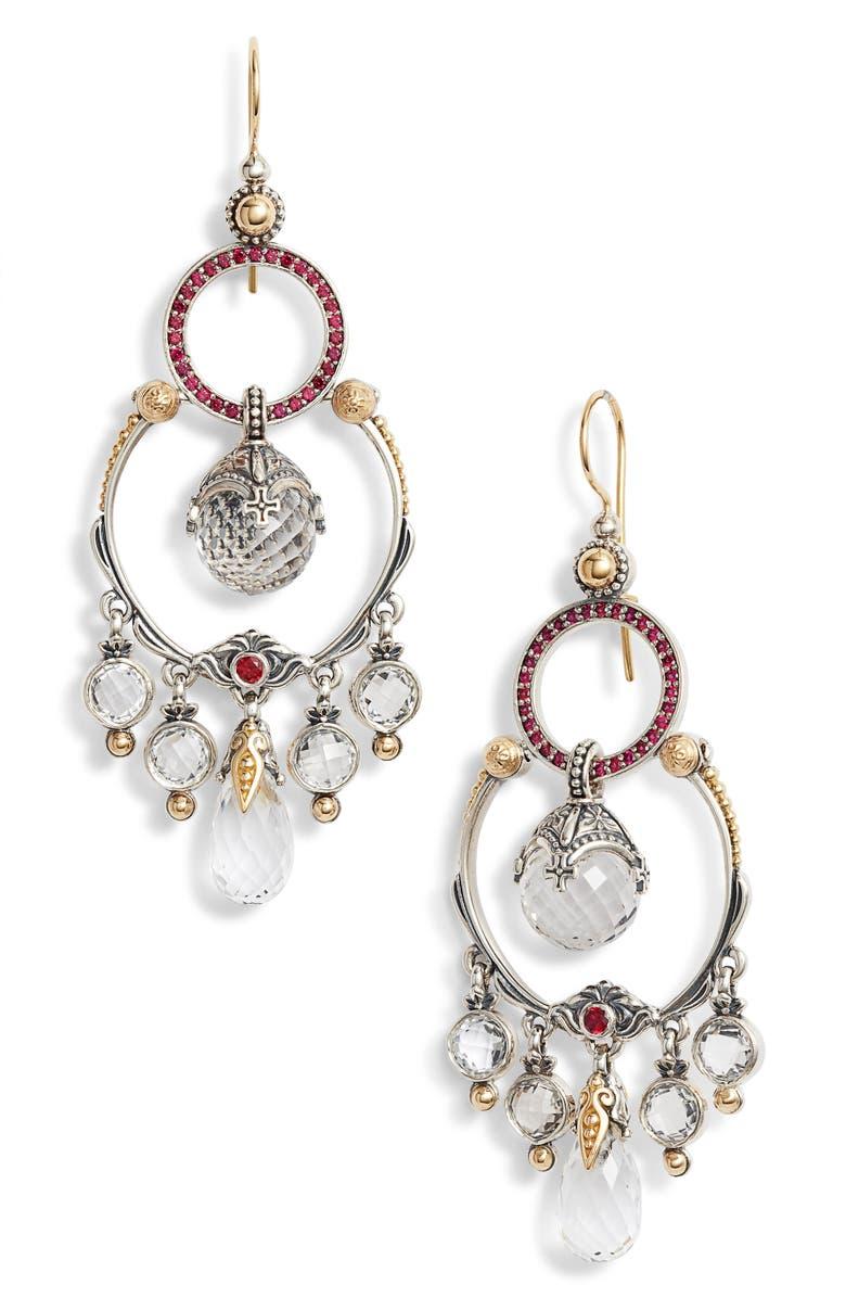 KONSTANTINO Pythia Crystal Chandelier Earrings, Main, color, SILVER/ CRYSTAL