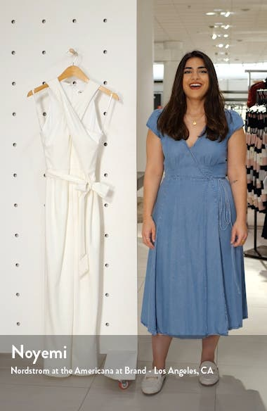 Cross Neck Belted Crepe Jumpsuit, sales video thumbnail