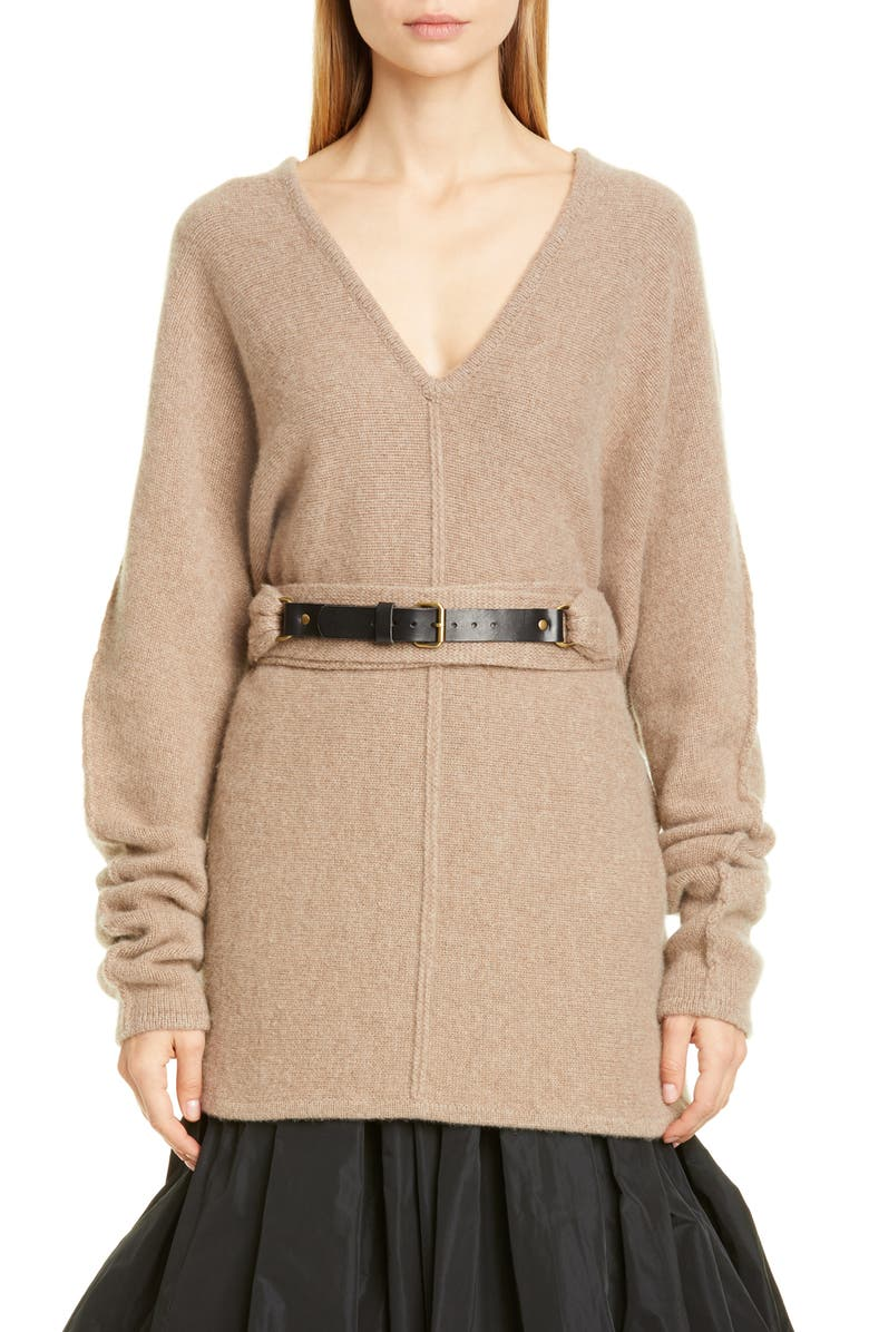 CO Belted V-Neck Cashmere Sweater, Main, color, FAWN