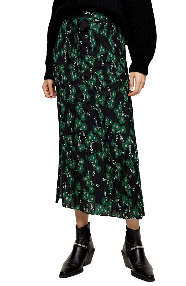 TOPSHOP Archive Crystal Floral Pleated Midi Skirt, Main, color, BLACK MULTI