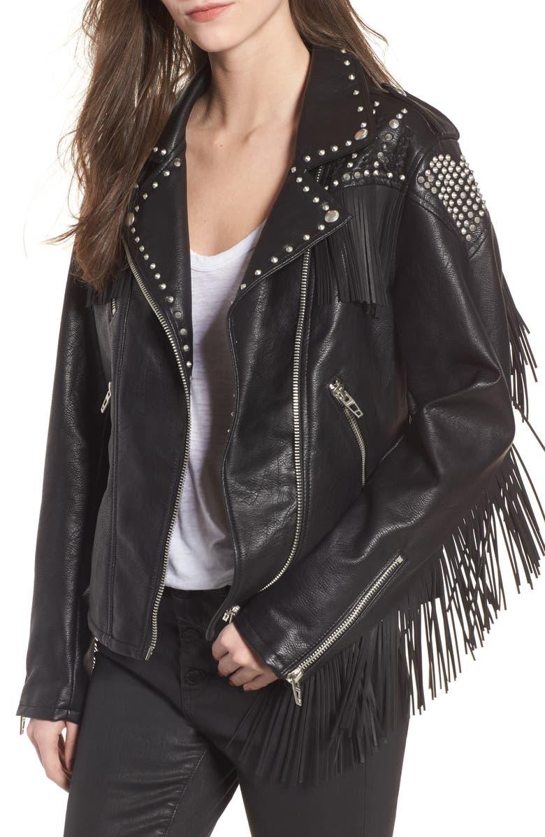 BLANKNYC Studded Fringe Faux Leather Moto Jacket, Main, color, 001