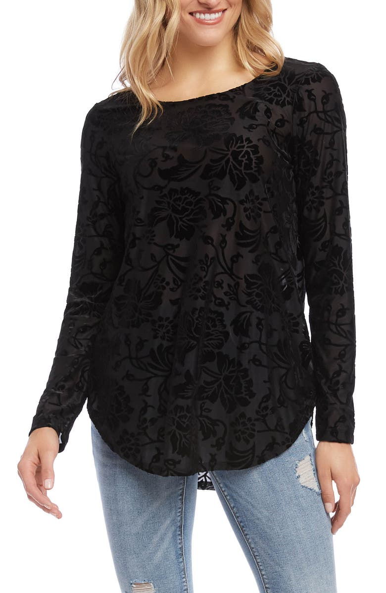 KAREN KANE Velvet Burnout Shirttail Blouse, Main, color, 001