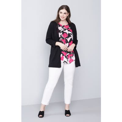 Plus Size Vince Camuto Sheer Stripe Cardigan
